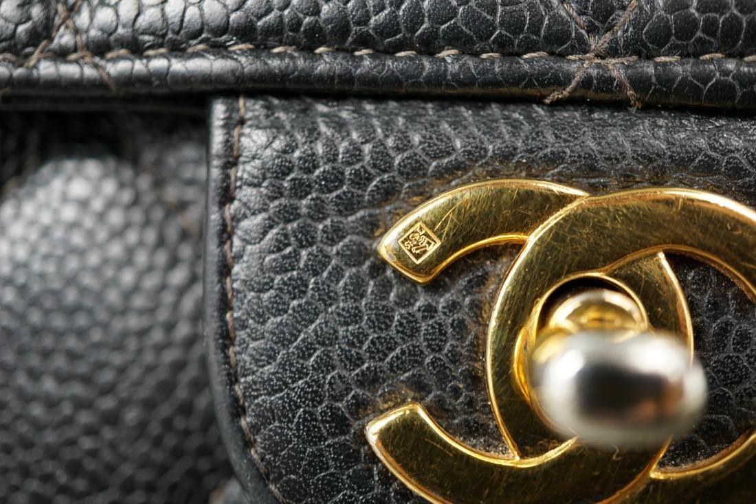 Black Leather Chanel Classic Flap Bag - 6