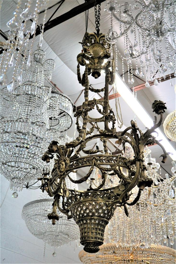 Polished Bronze Basket Chandelier