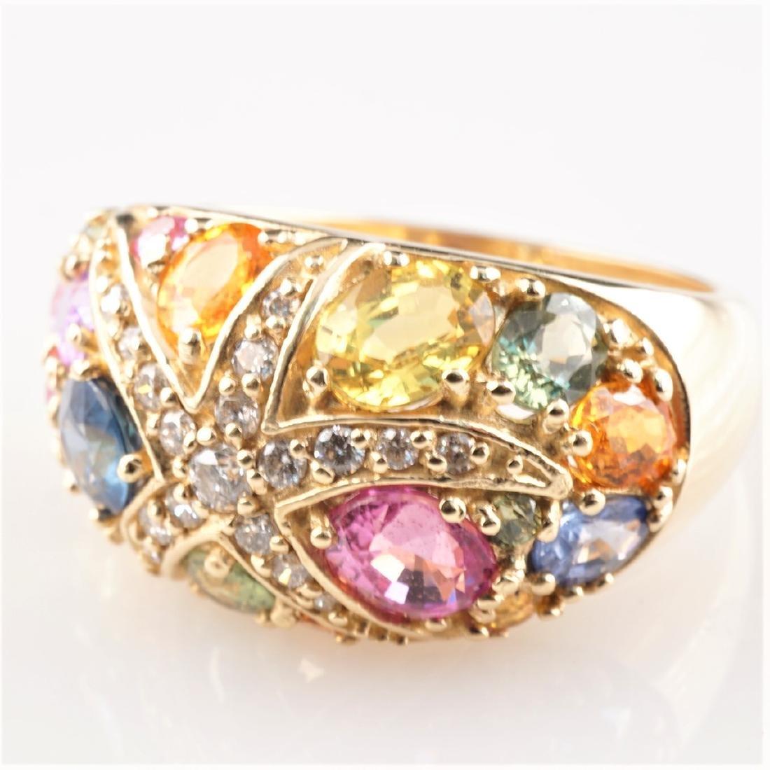 Starfish Diamond & Multistone Ring sz 7 in 14k