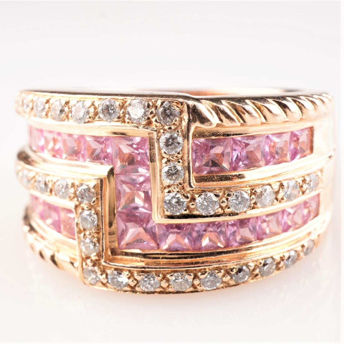 14k Rose Gold Le Vian Diamond and Sapphire Ring