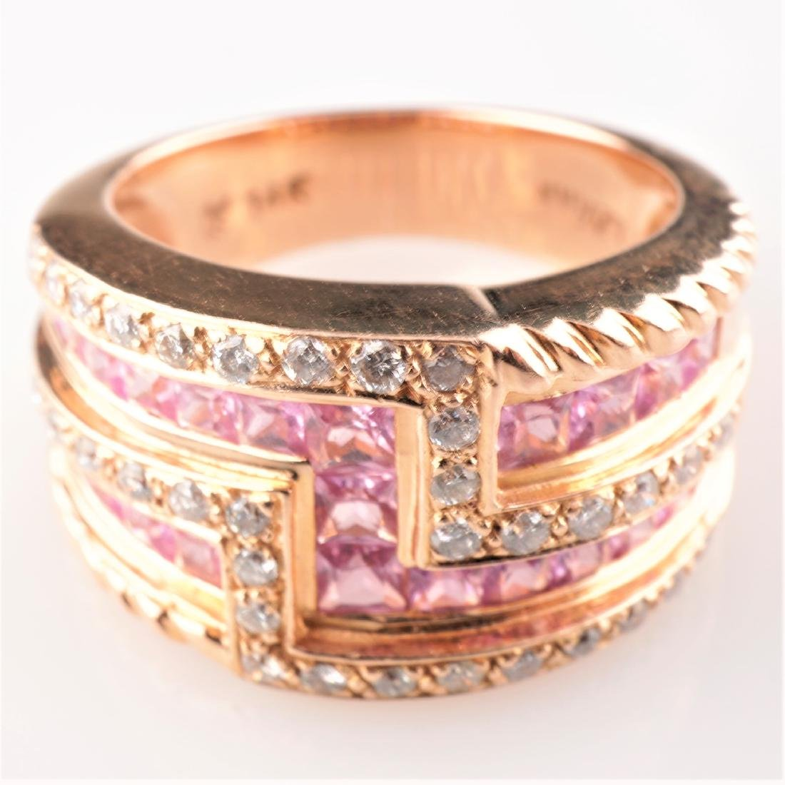 14k Rose Gold Le Vian Diamond and Sapphire Ring - 2