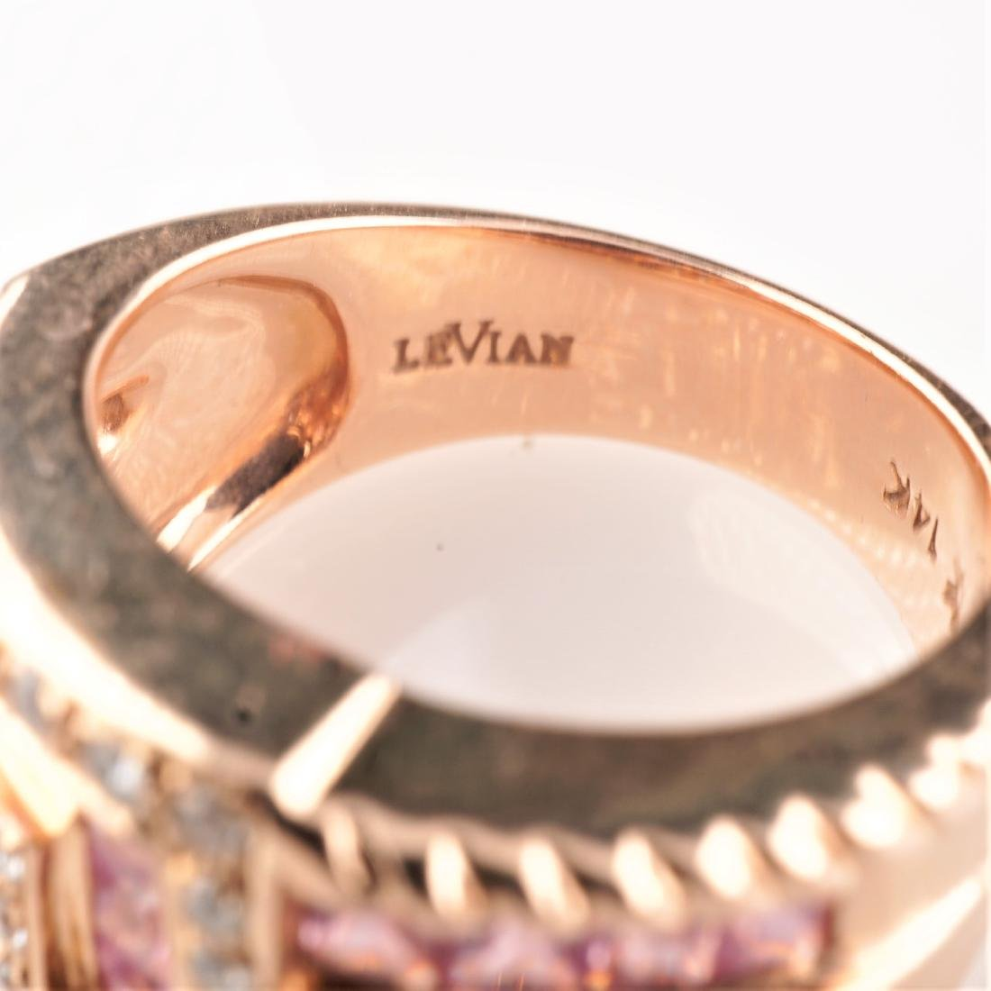 14k Rose Gold Le Vian Diamond and Sapphire Ring - 4