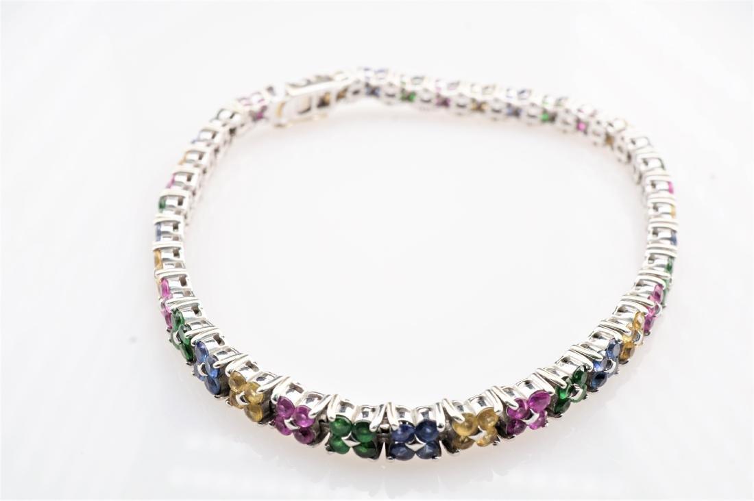 14k WG Floral Pattern Sapphire and Emerald Tennis Brace