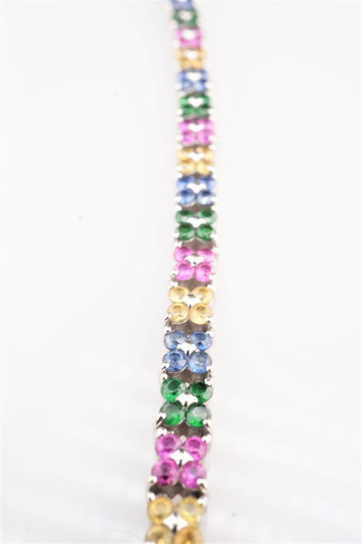 14k WG Floral Pattern Sapphire and Emerald Tennis Brace - 3