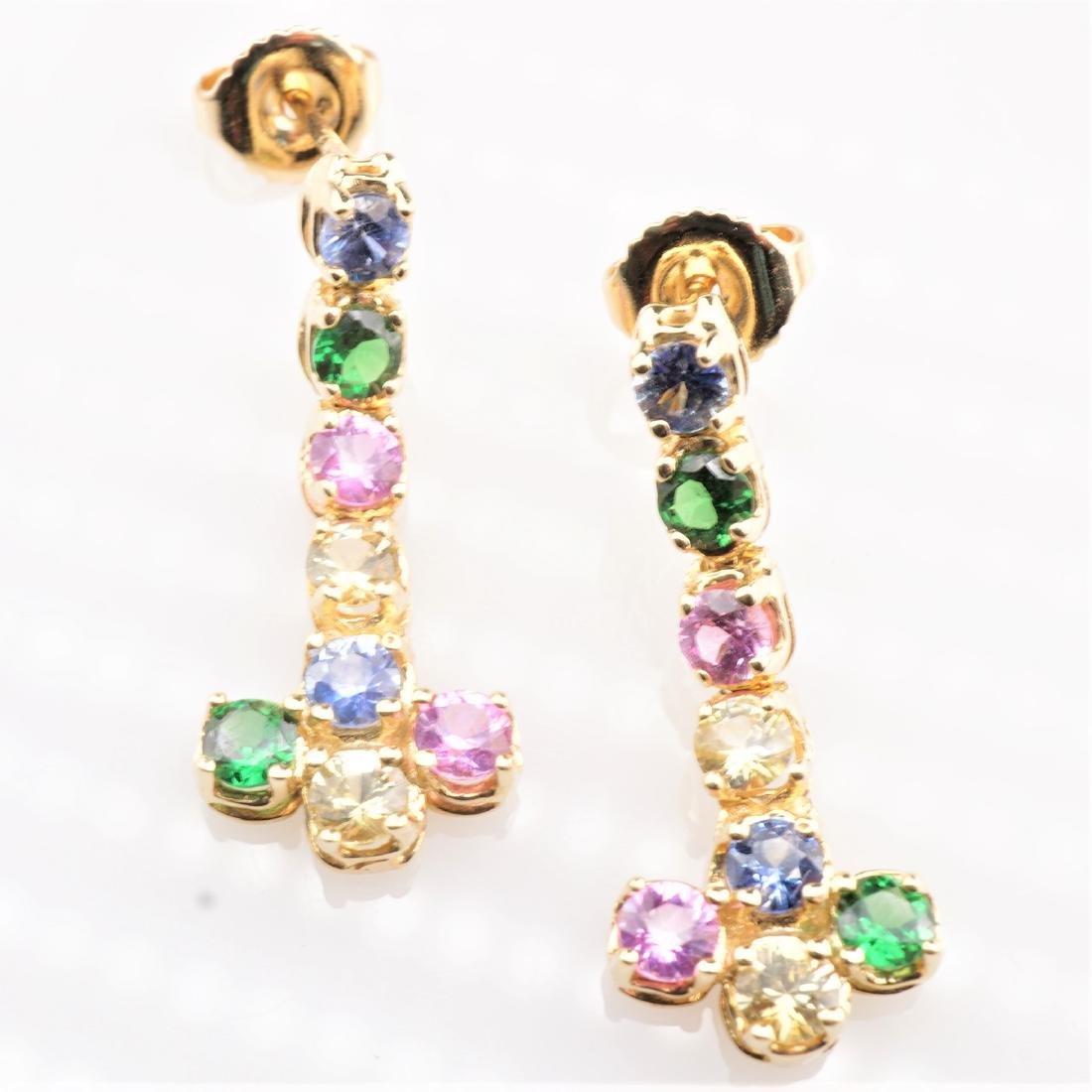 14k YG Multistone Dangle Earrings