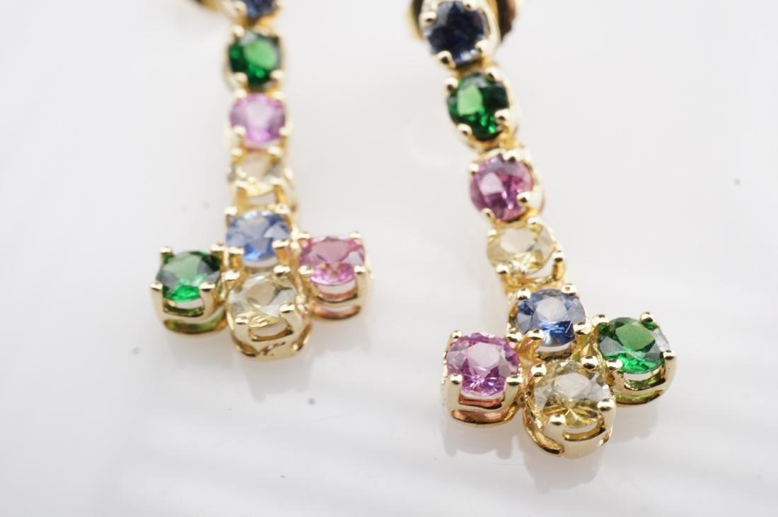 14k YG Multistone Dangle Earrings - 2