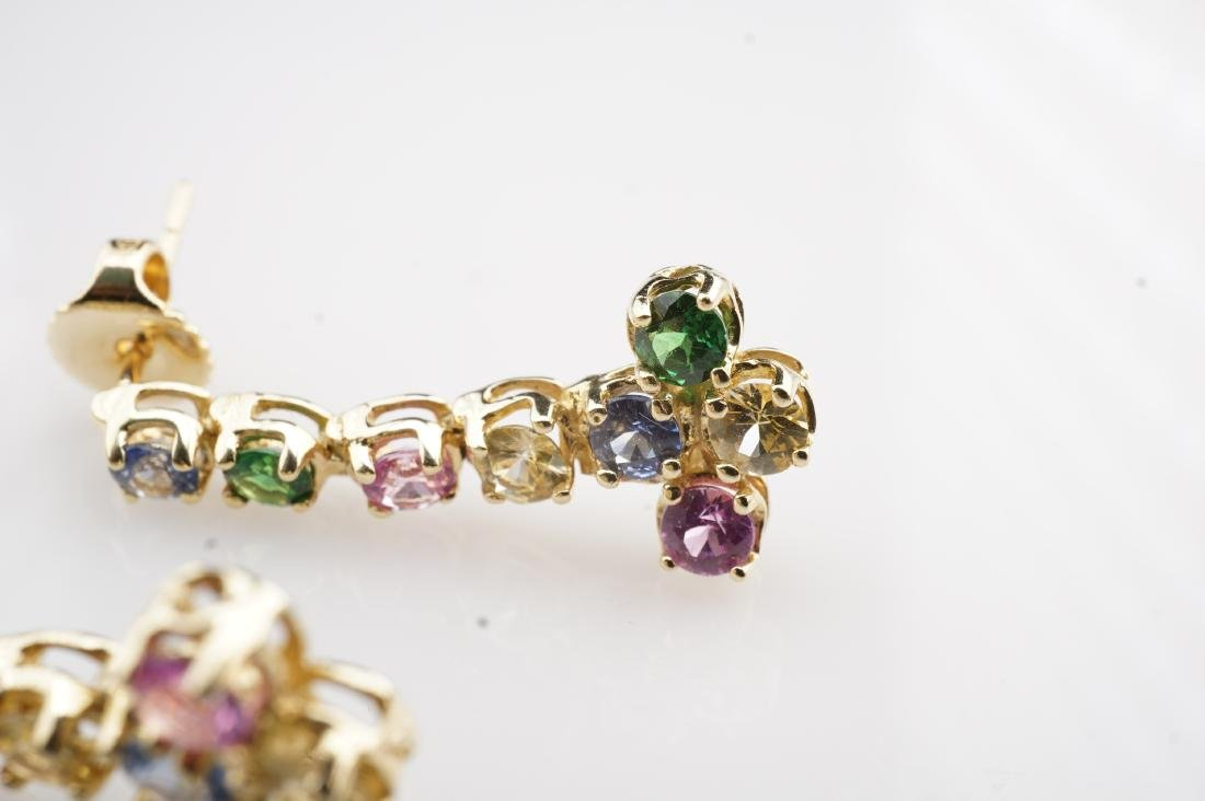14k YG Multistone Dangle Earrings - 3