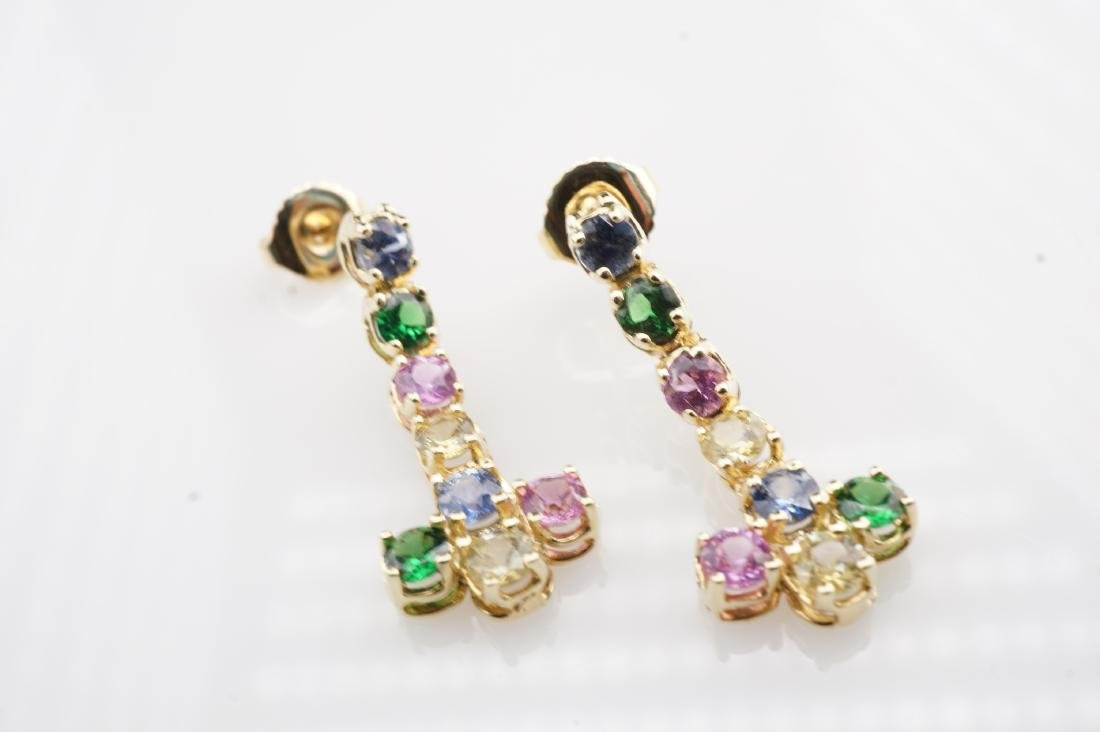 14k YG Multistone Dangle Earrings - 4