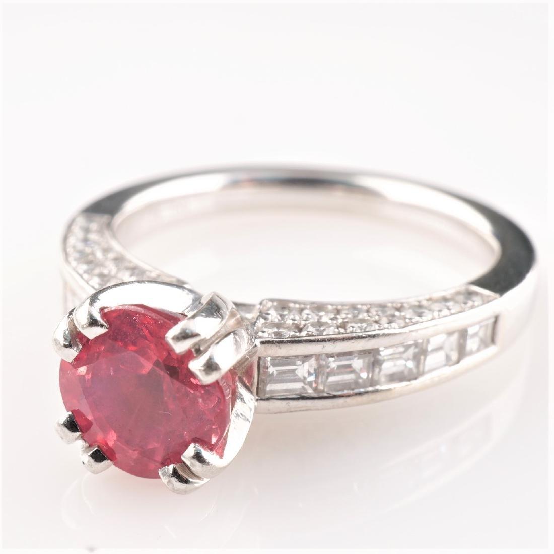 Natural Pink Spinel & Diamond Ring in Platinum sz 6.5