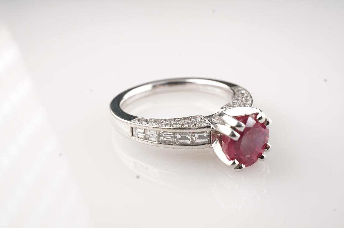 Natural Pink Spinel & Diamond Ring in Platinum sz 6.5 - 2