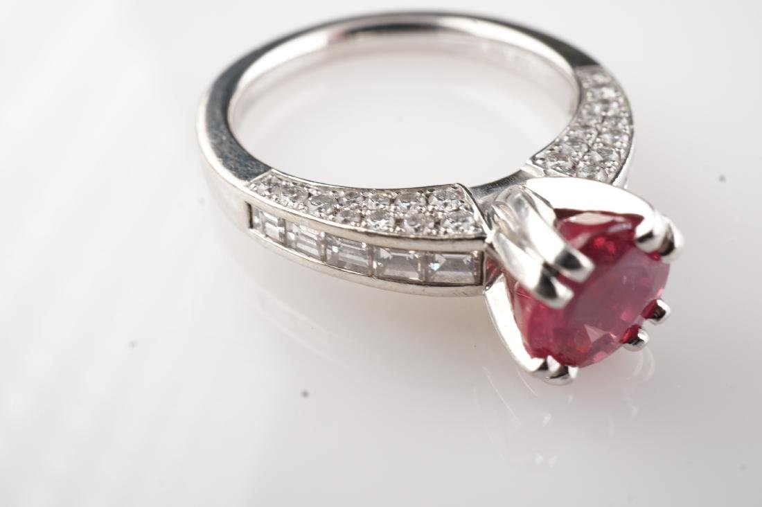 Natural Pink Spinel & Diamond Ring in Platinum sz 6.5 - 3