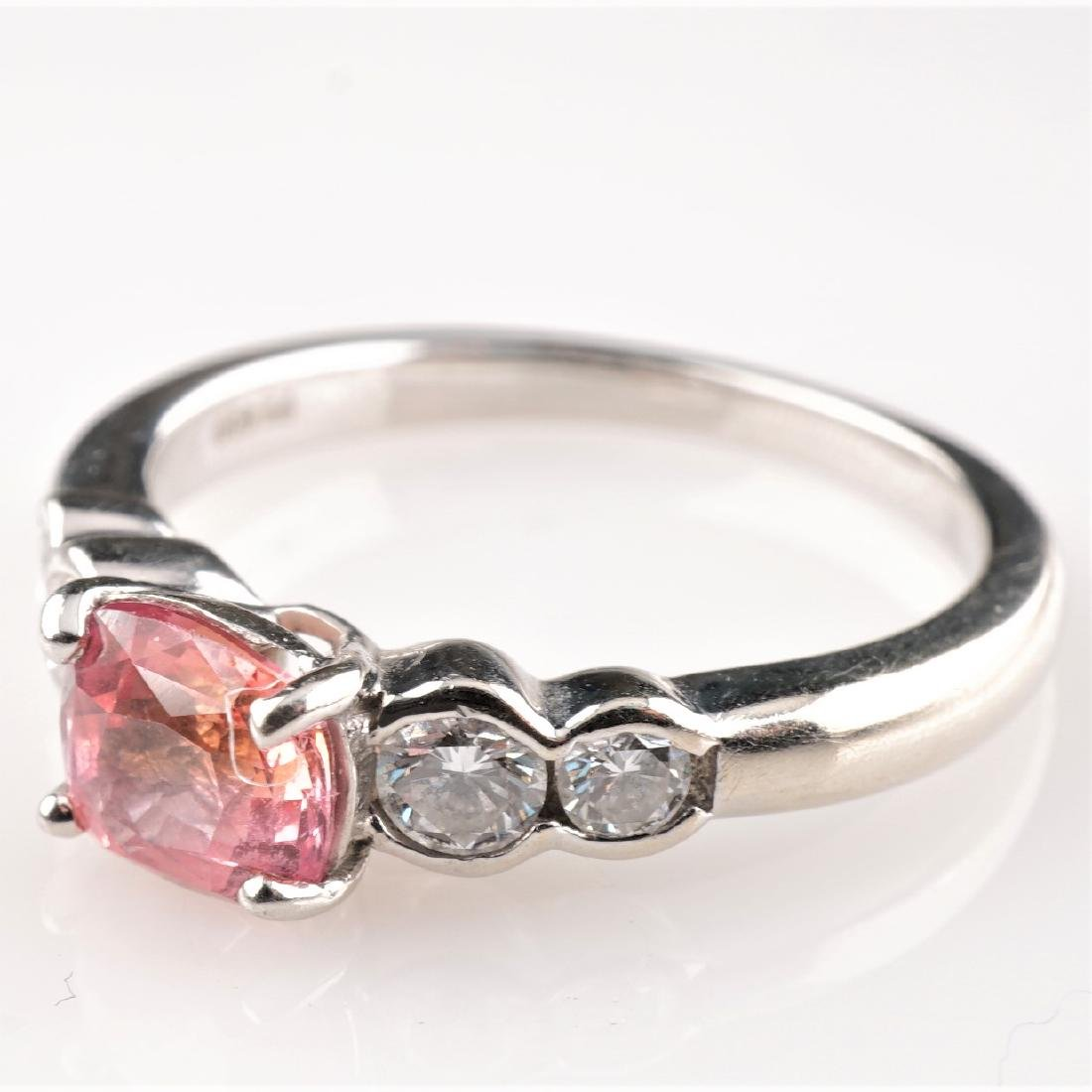 Natural Pink Padparadscha and Diamond Ring in Platinum