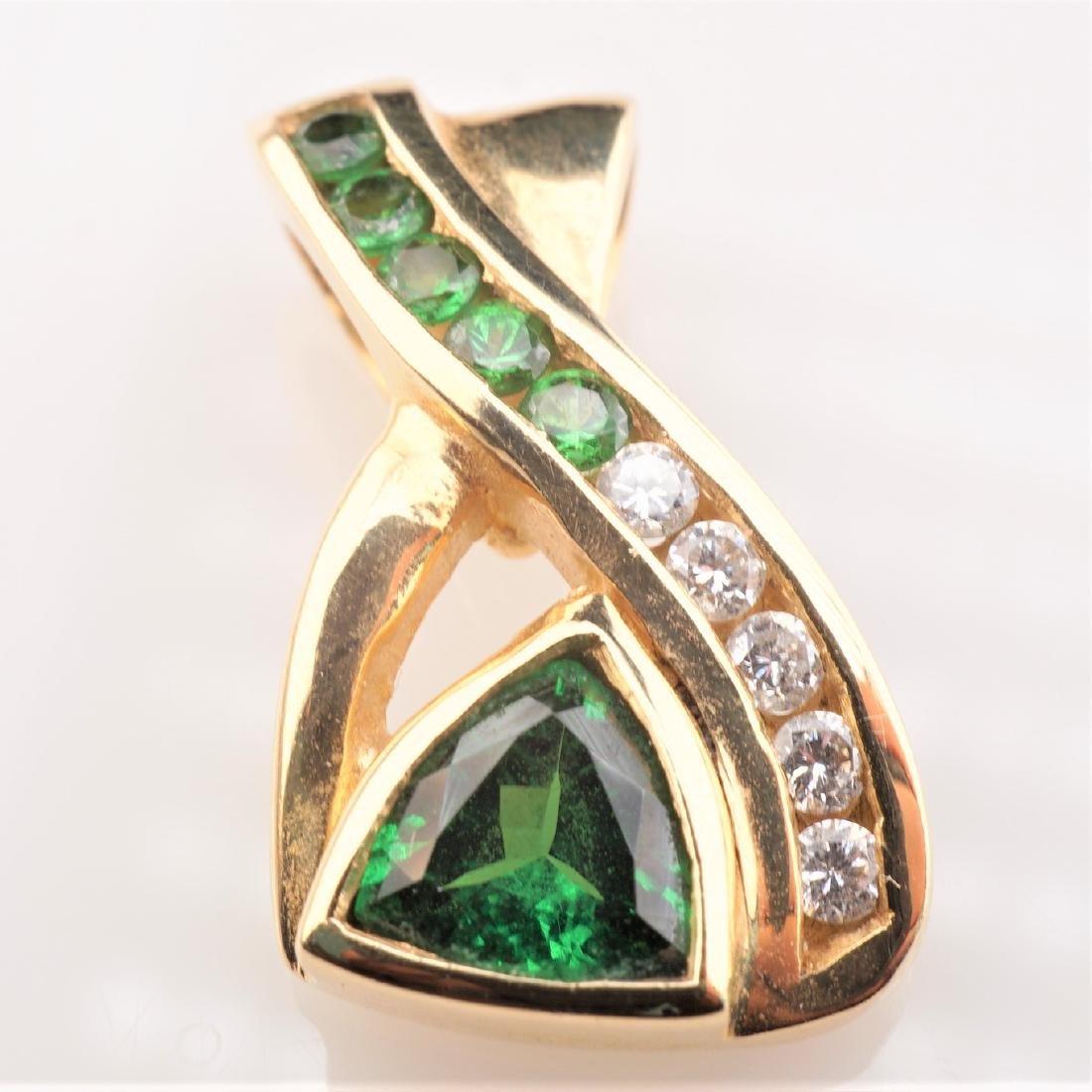 14k YG Trillion Cut Tsavorite Garnet and Diamond Pendan