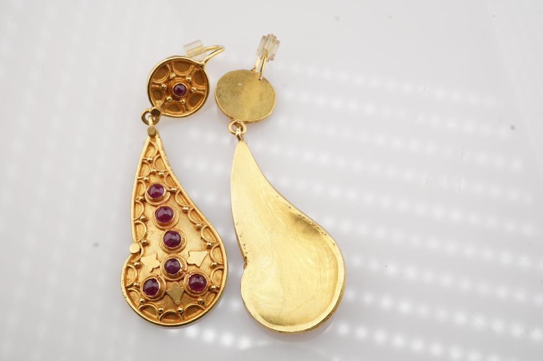 18k YG Designer YG & Ruby Earrings - 4