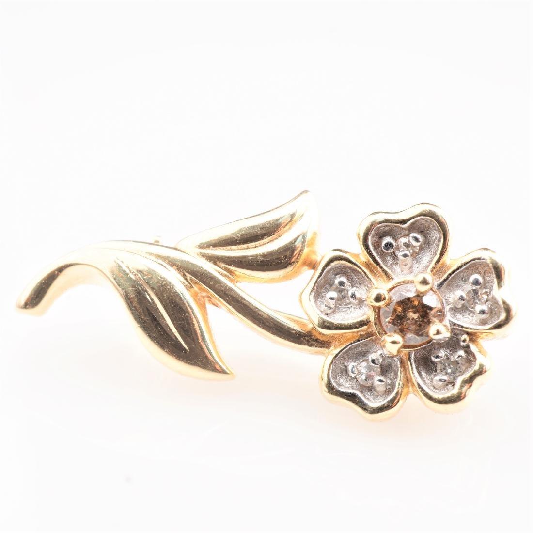 14k YG Cognac Diamond Flower Brooch