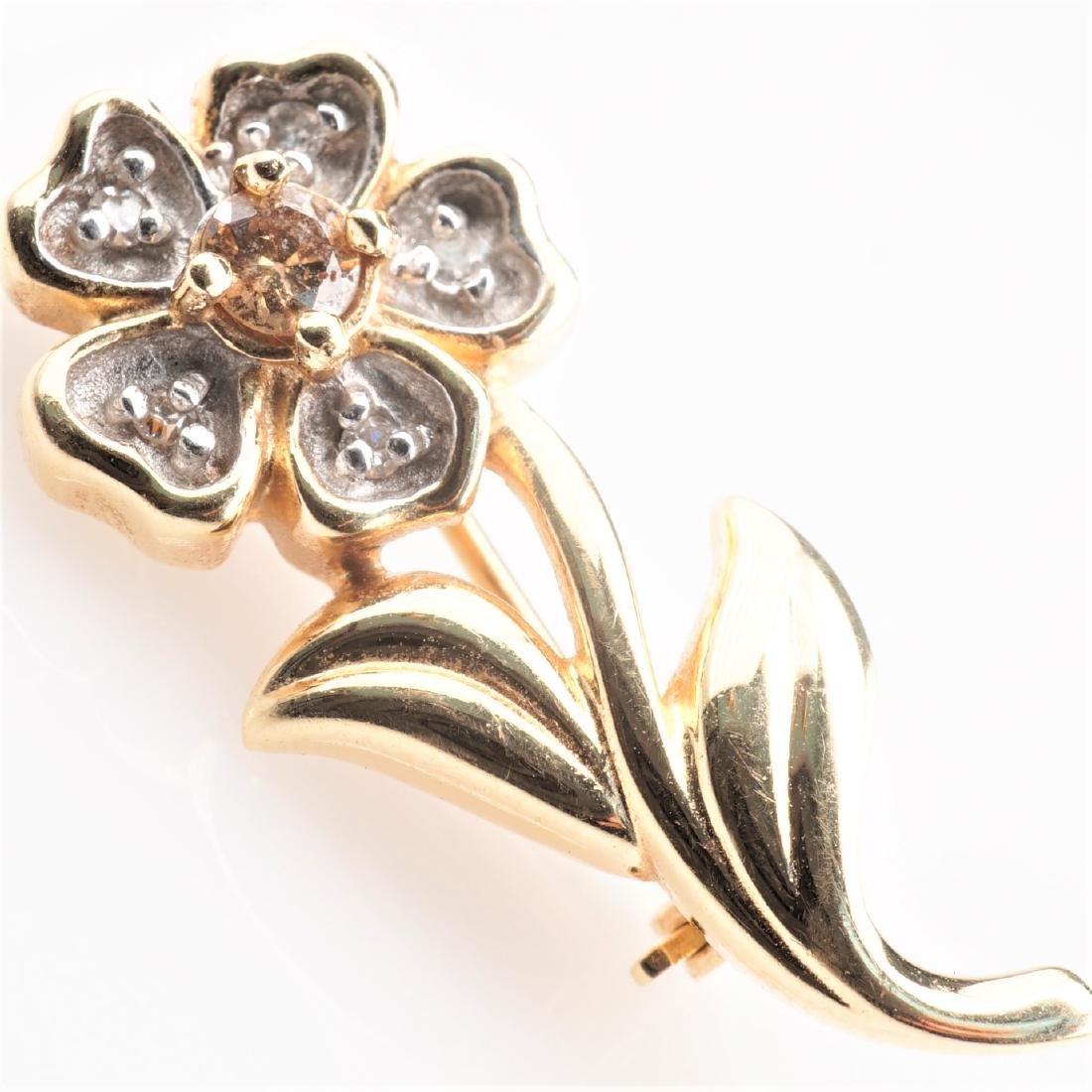 14k YG Cognac Diamond Flower Brooch - 2
