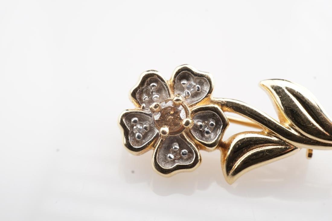 14k YG Cognac Diamond Flower Brooch - 3