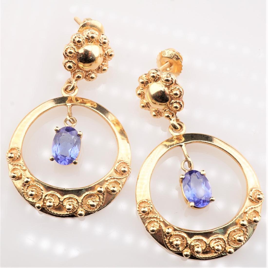 14k YG Le Vian Tanzanite Filigree Earrings