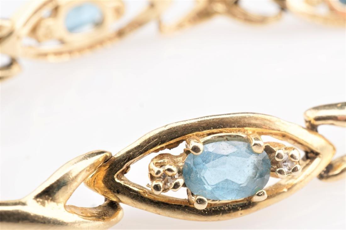 14k YG Aquamarine Tennis Bracelet