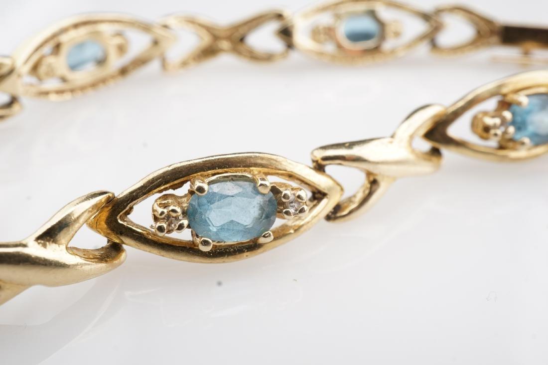 14k YG Aquamarine Tennis Bracelet - 2