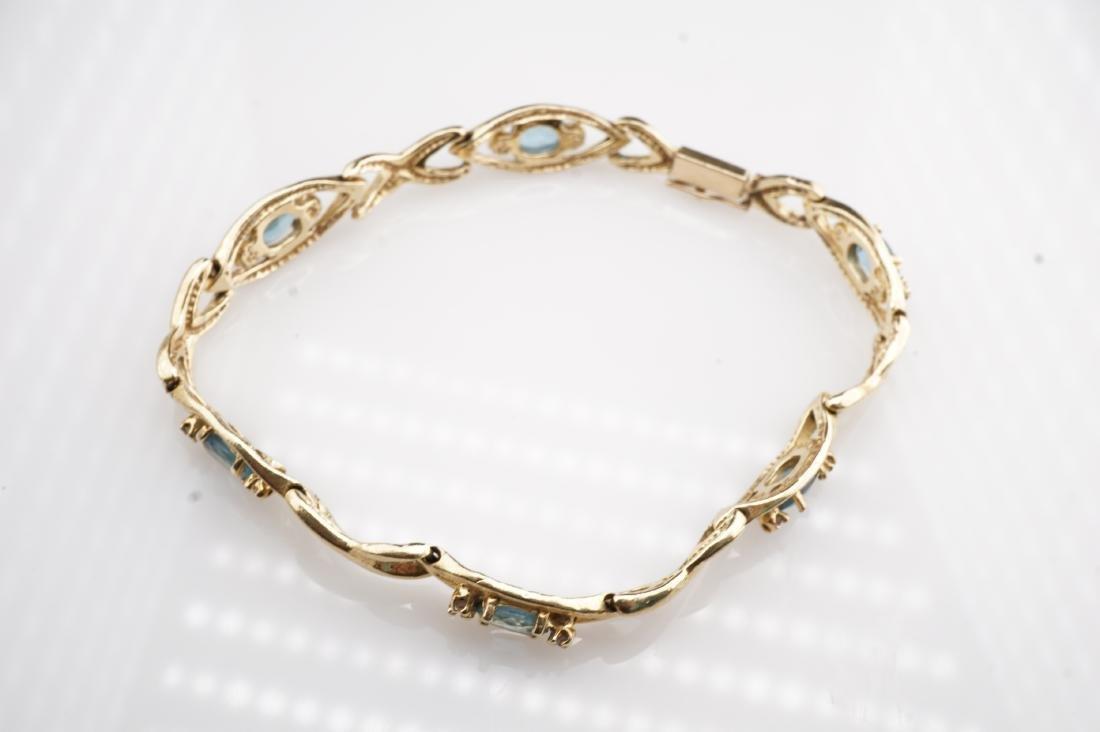 14k YG Aquamarine Tennis Bracelet - 3