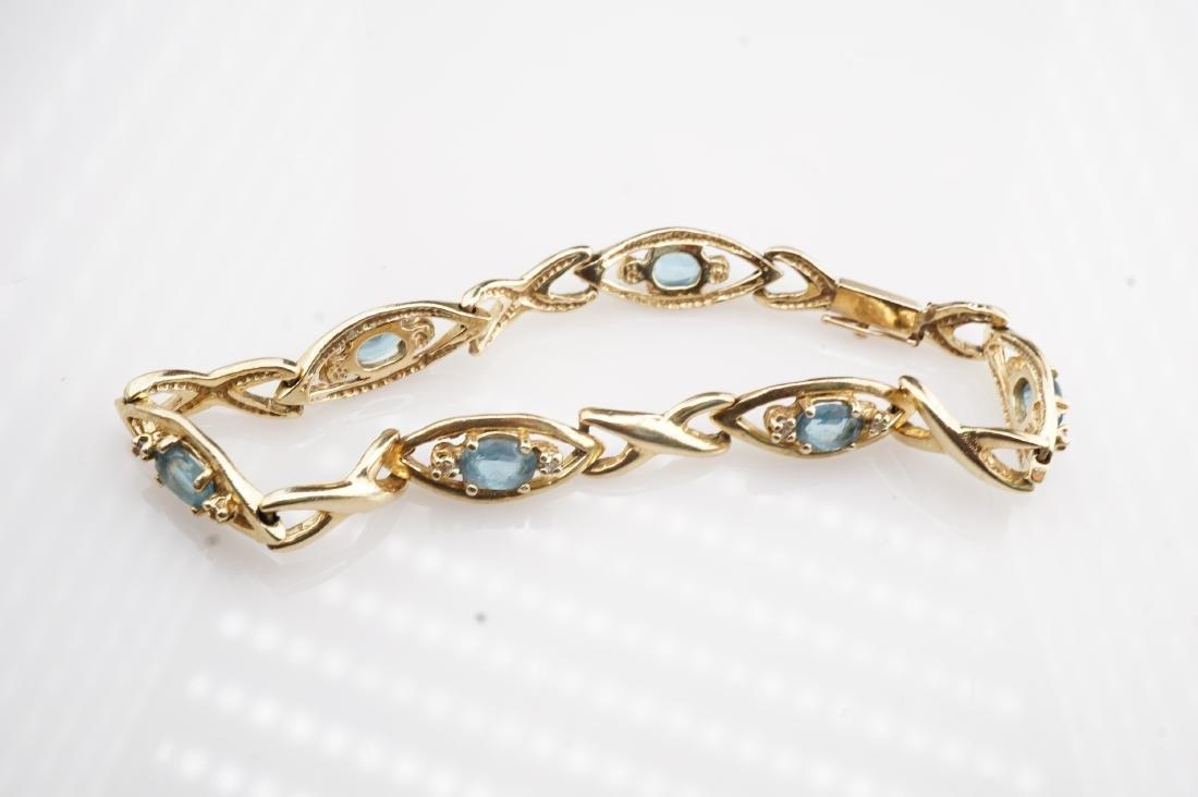 14k YG Aquamarine Tennis Bracelet - 4