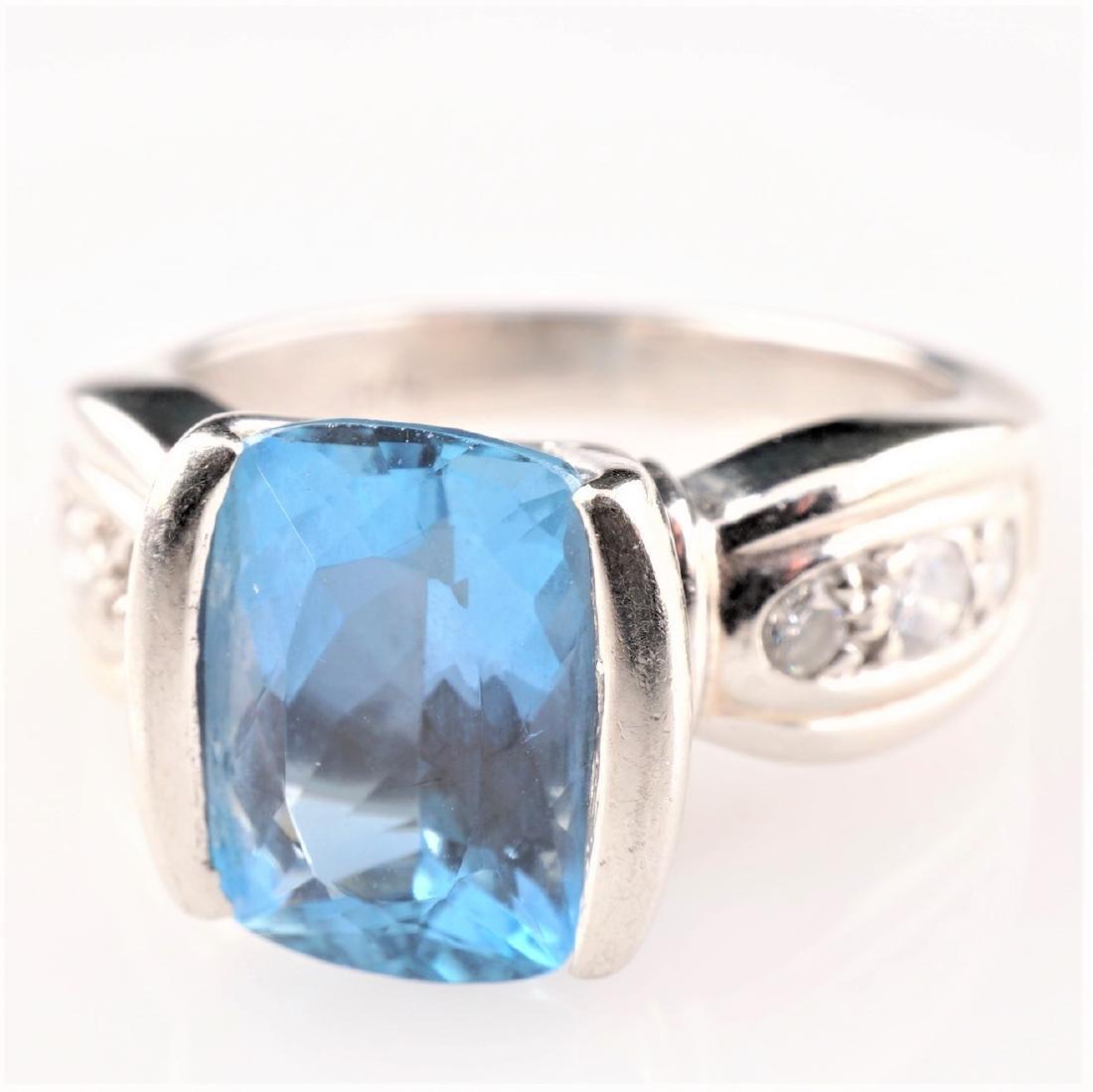 Heavy Aquamarine & Diamond Ring in Platinum sz 5.5