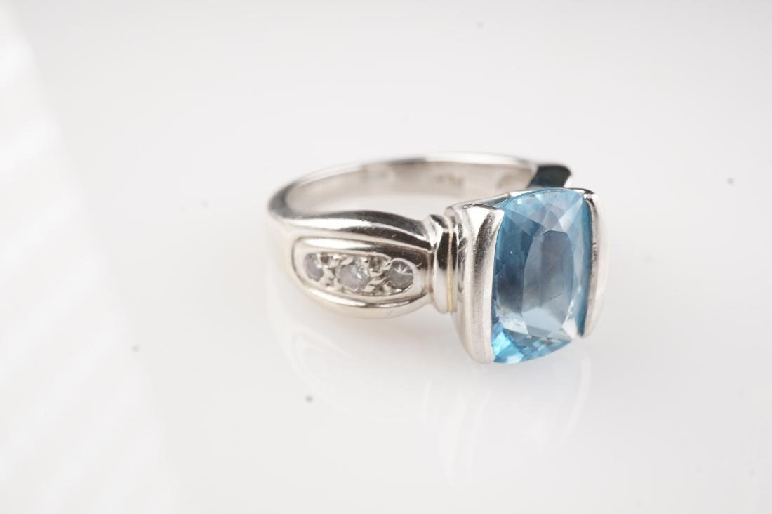 Heavy Aquamarine & Diamond Ring in Platinum sz 5.5 - 2