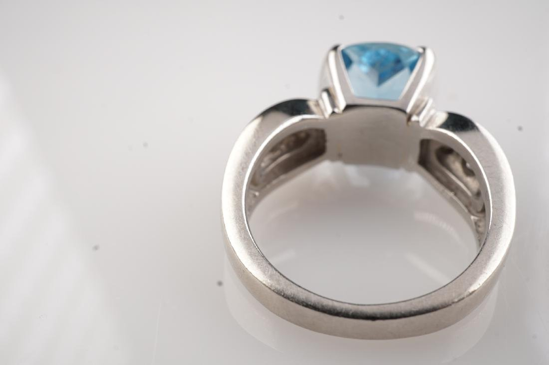 Heavy Aquamarine & Diamond Ring in Platinum sz 5.5 - 3