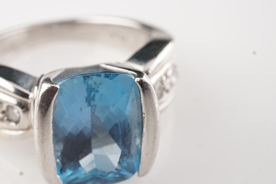 Heavy Aquamarine & Diamond Ring in Platinum sz 5.5 - 5