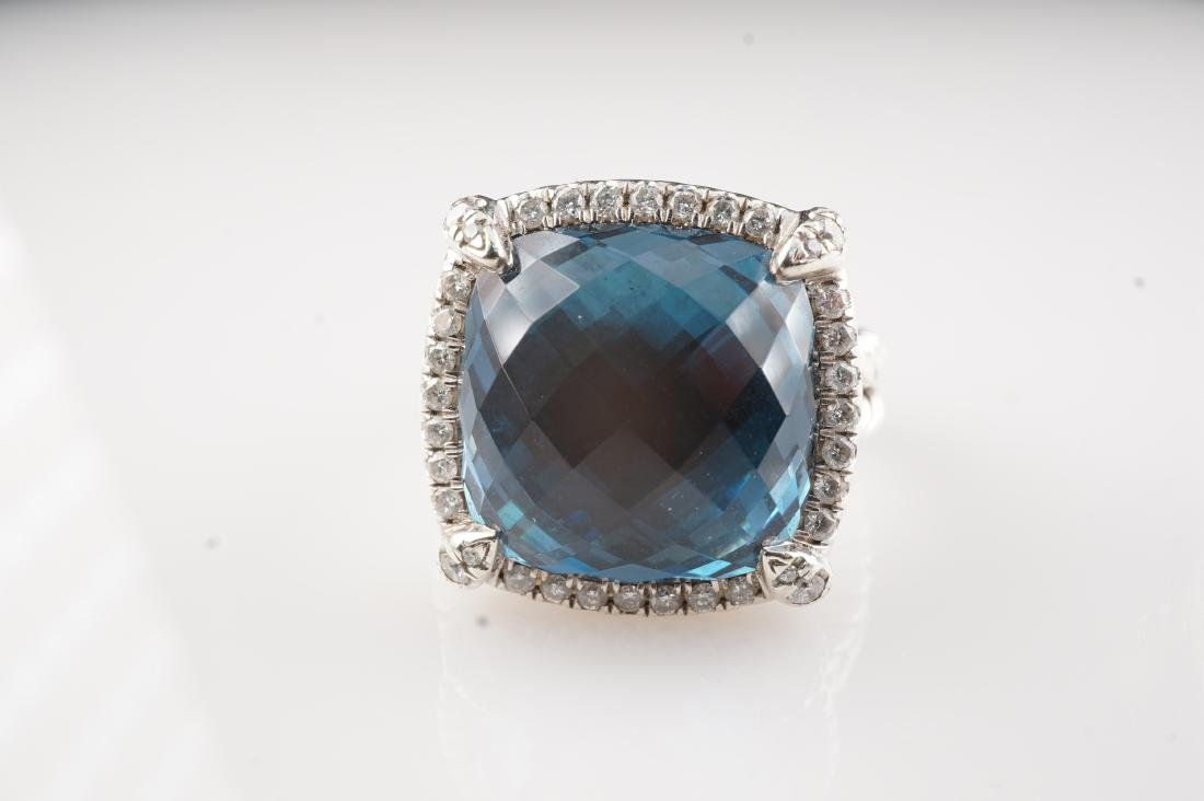 David Yurman Topaz and Diamond Ring sz 5.25 - 3
