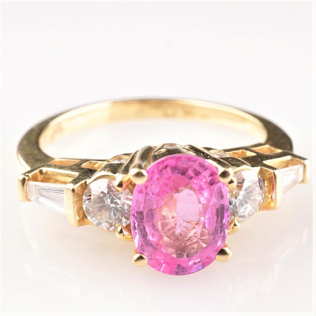 Le Vian 18k Pink Padparadscha Sapphire & Diamond Sz6.5