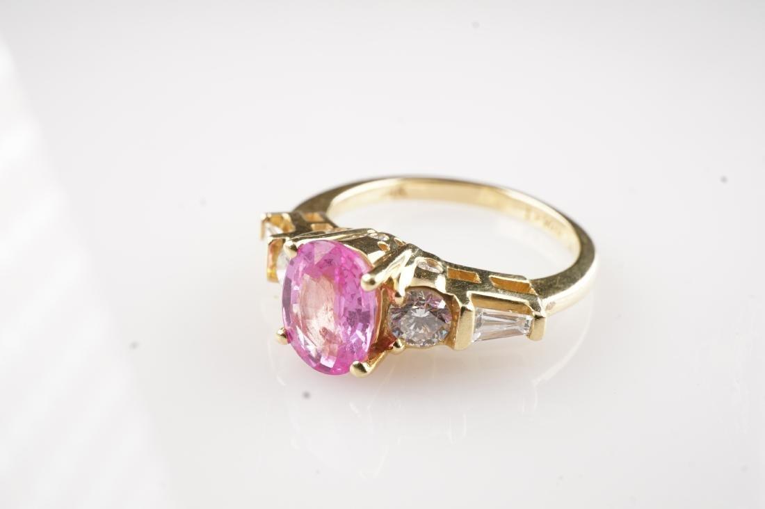 Le Vian 18k Pink Padparadscha Sapphire & Diamond Sz6.5 - 2