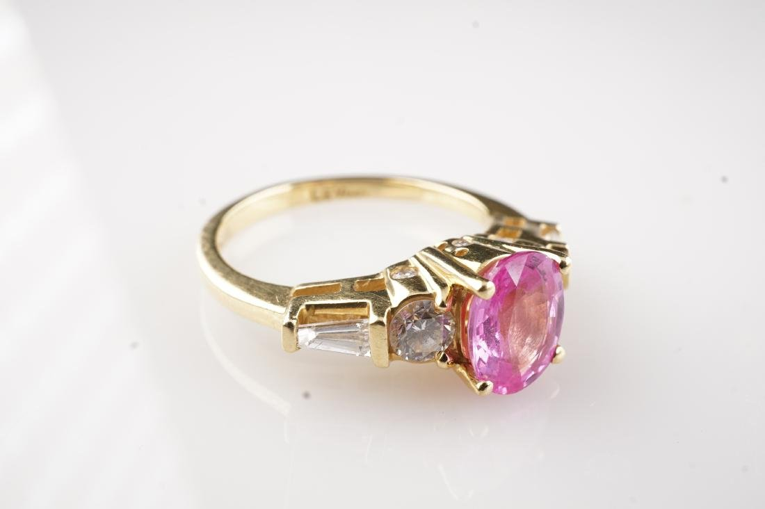Le Vian 18k Pink Padparadscha Sapphire & Diamond Sz6.5 - 3