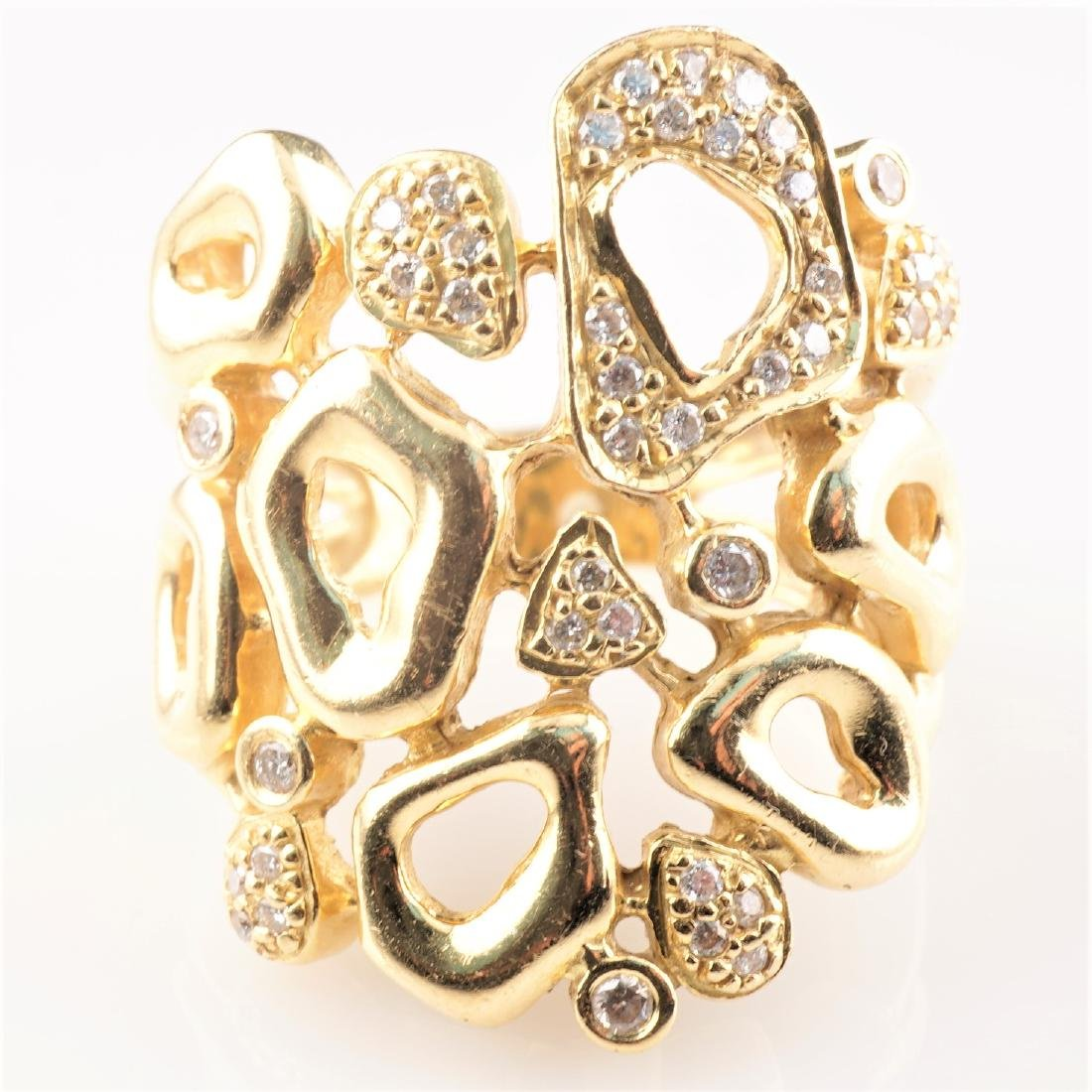Heavy 18k YG Diamond Contemporary Ring sz8