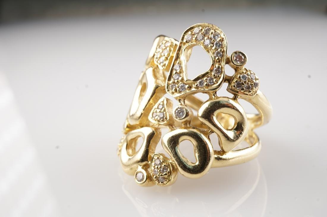 Heavy 18k YG Diamond Contemporary Ring sz8 - 2