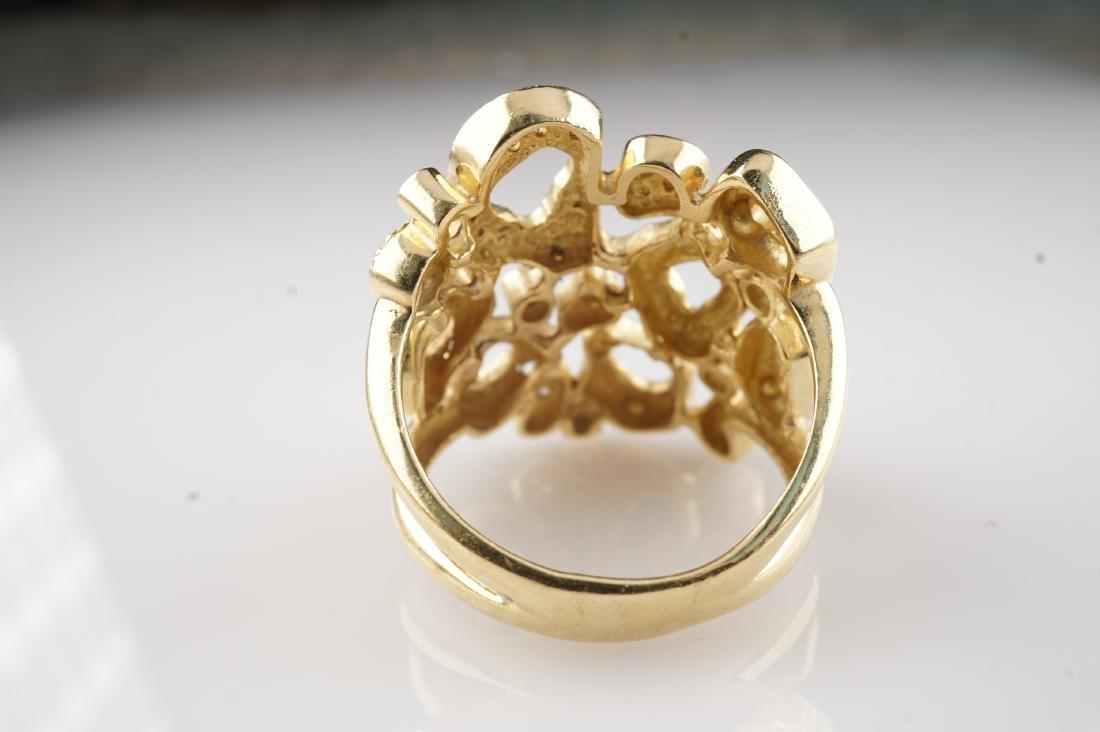Heavy 18k YG Diamond Contemporary Ring sz8 - 3