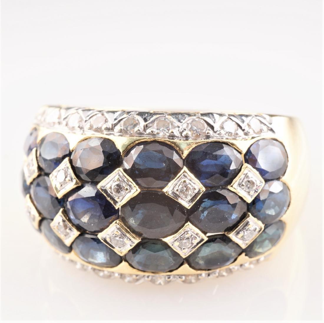 18k YG Le Vian Sapphire and Diamond Ring sz 7