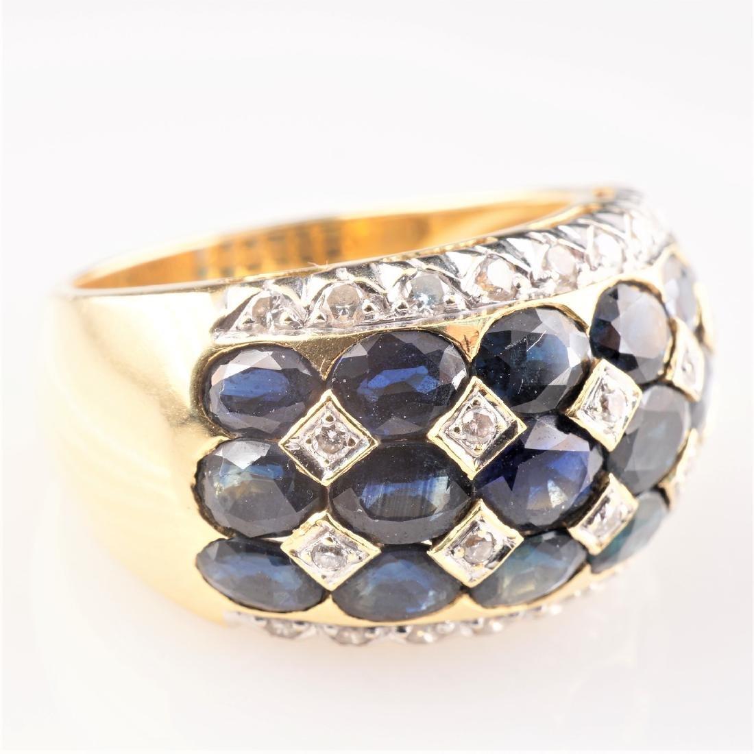 18k YG Le Vian Sapphire and Diamond Ring sz 7 - 2