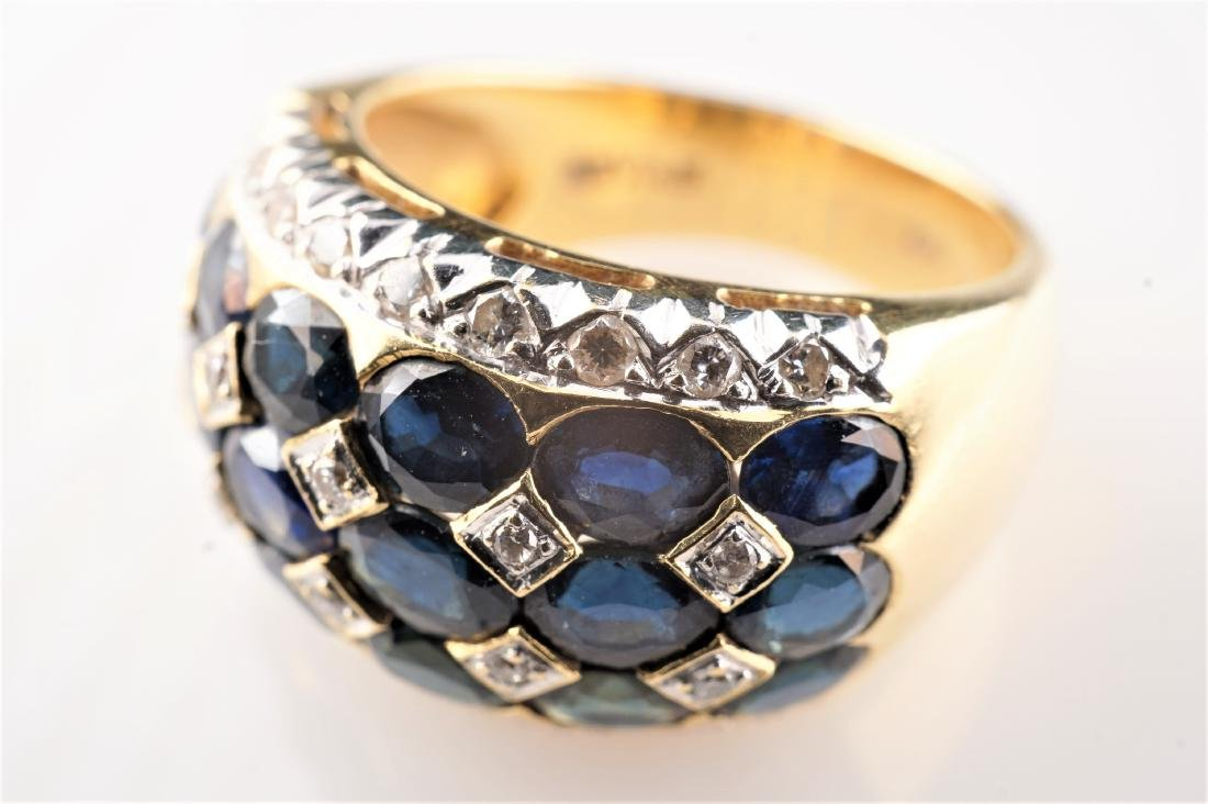 18k YG Le Vian Sapphire and Diamond Ring sz 7 - 3