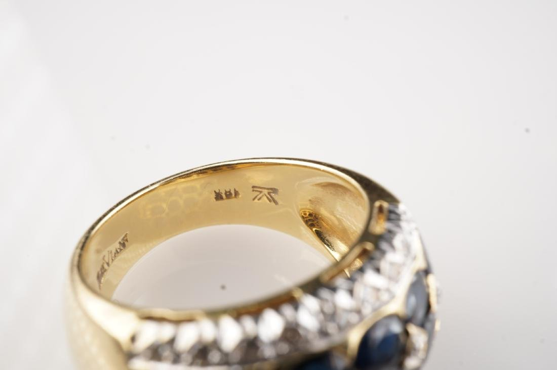 18k YG Le Vian Sapphire and Diamond Ring sz 7 - 5