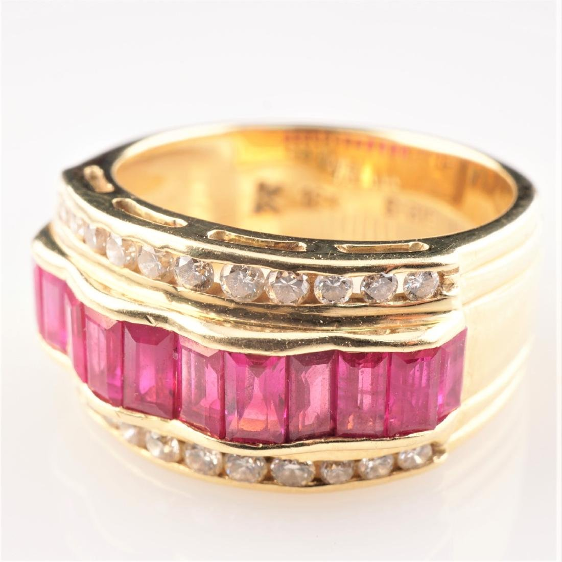18k YG Le Vian  Ruby and Diamond Ring sz 7