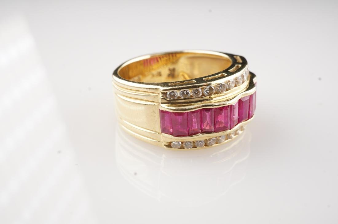 18k YG Le Vian  Ruby and Diamond Ring sz 7 - 2