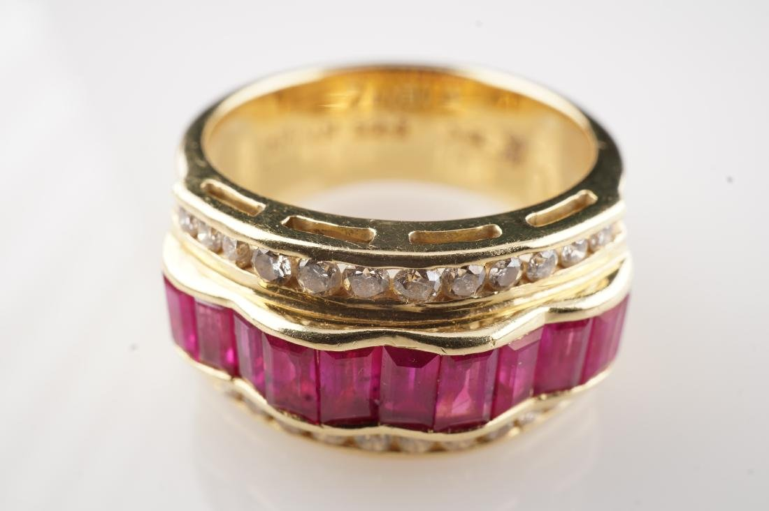 18k YG Le Vian  Ruby and Diamond Ring sz 7 - 3