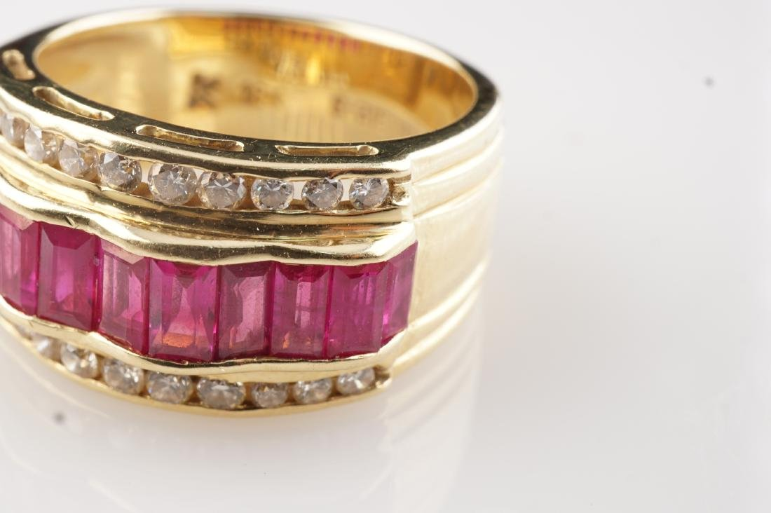 18k YG Le Vian  Ruby and Diamond Ring sz 7 - 4