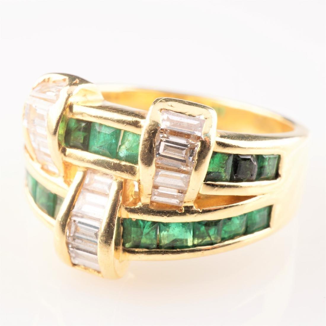 18k YG Emerald and Diamond Ring sz 6.75