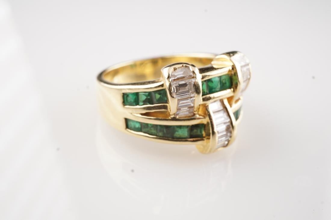18k YG Emerald and Diamond Ring sz 6.75 - 2