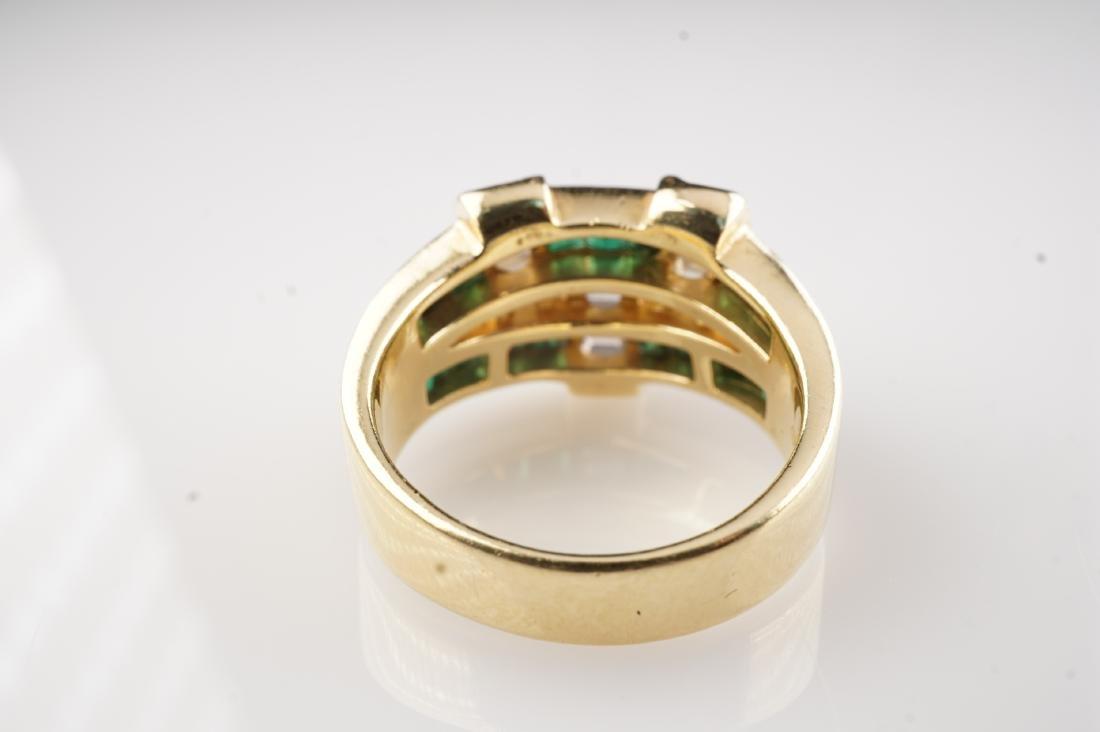 18k YG Emerald and Diamond Ring sz 6.75 - 3