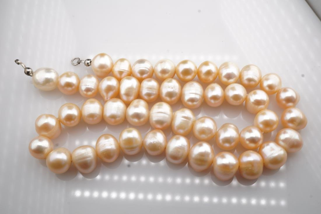 """17"""" Long Massive Pink Pearl Necklace - 4"""