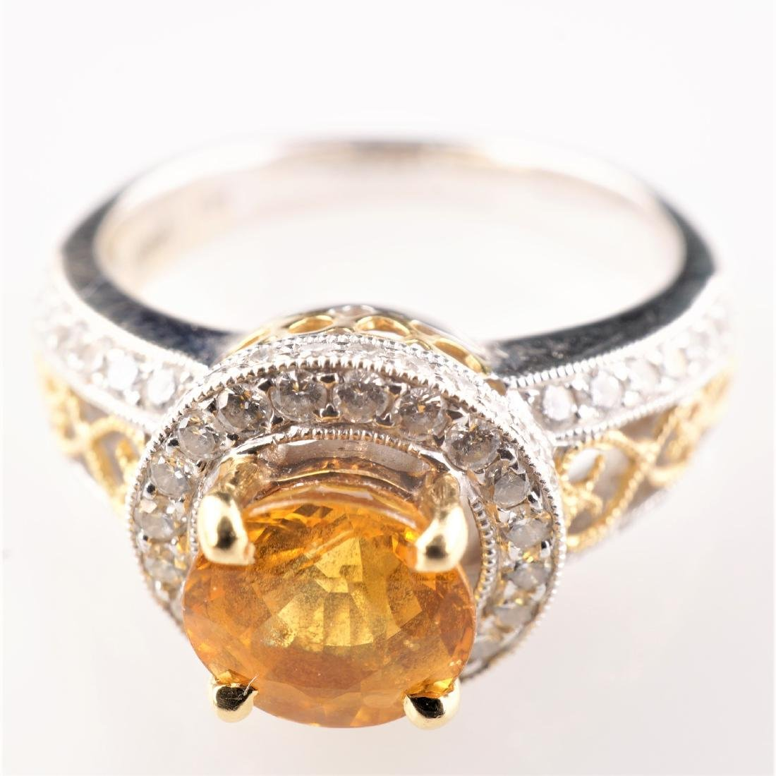 18k WG/YG Yellow Sapphire & Diamond Ring sz 6